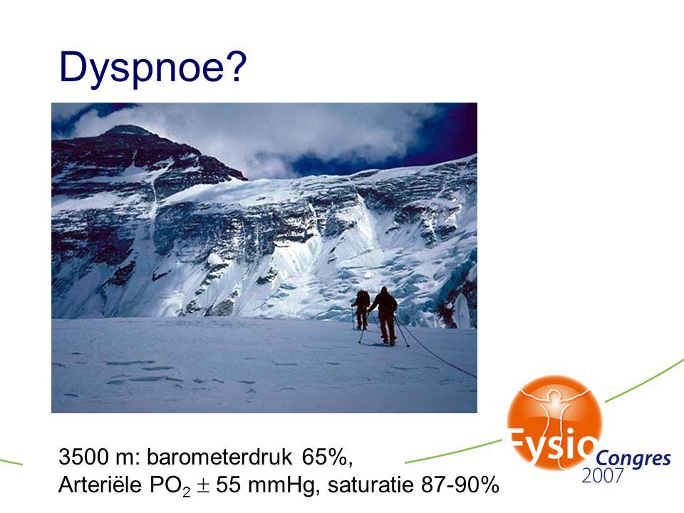 Dyspnoe? 3500 m: barometerdruk 65%, Arteriële PO 2  55 mmHg, saturatie 87-90%