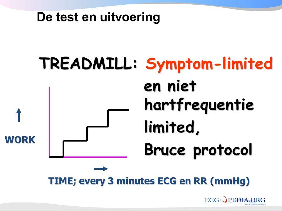 TREADMILL: Symptom-limited TREADMILL: Symptom-limited en niet hartfrequentie limited, Bruce protocol TIME; every 3 minutes ECG en RR (mmHg) WORK De te
