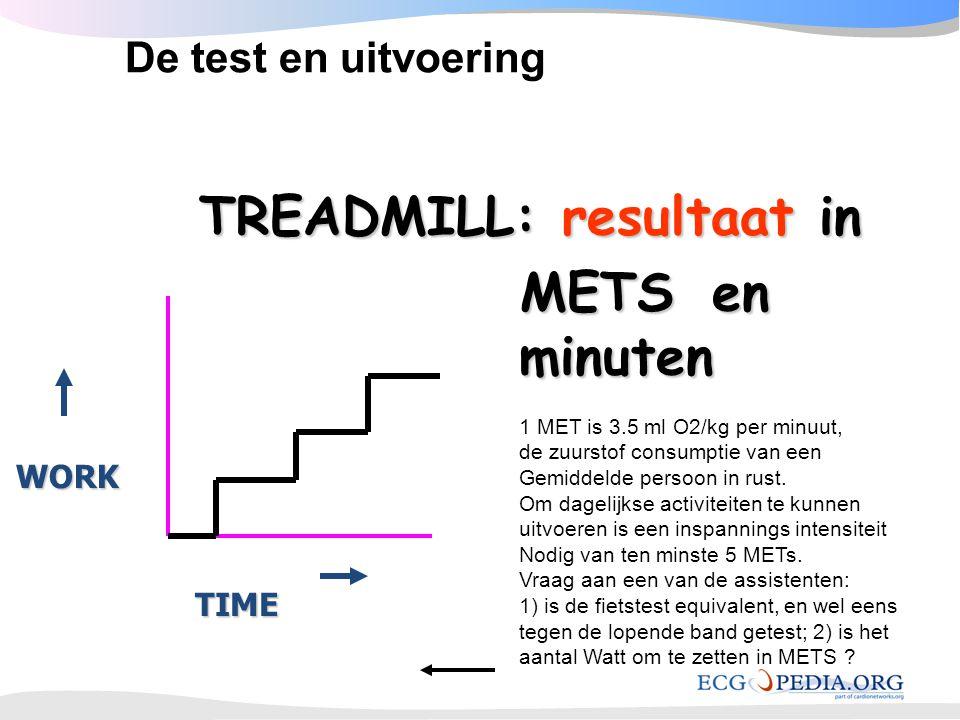 TREADMILL: resultaat in TREADMILL: resultaat in METSen minuten TIME WORK De test en uitvoering 1 MET is 3.5 ml O2/kg per minuut, de zuurstof consumpti