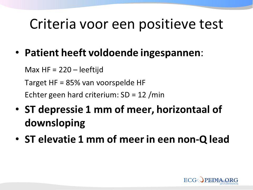 Criteria voor een positieve test • Patient heeft voldoende ingespannen: Max HF = 220 – leeftijd Target HF = 85% van voorspelde HF Echter geen hard cri