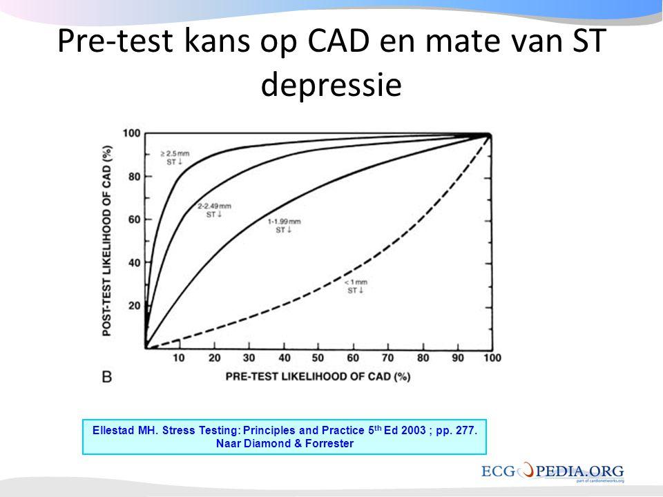 Pre-test kans op CAD en mate van ST depressie Ellestad MH. Stress Testing: Principles and Practice 5 th Ed 2003 ; pp. 277. Naar Diamond & Forrester