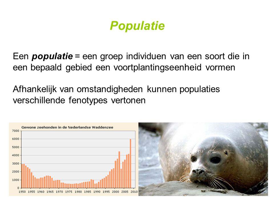 Populatie Een populatie = een groep individuen van een soort die in een bepaald gebied een voortplantingseenheid vormen Afhankelijk van omstandigheden