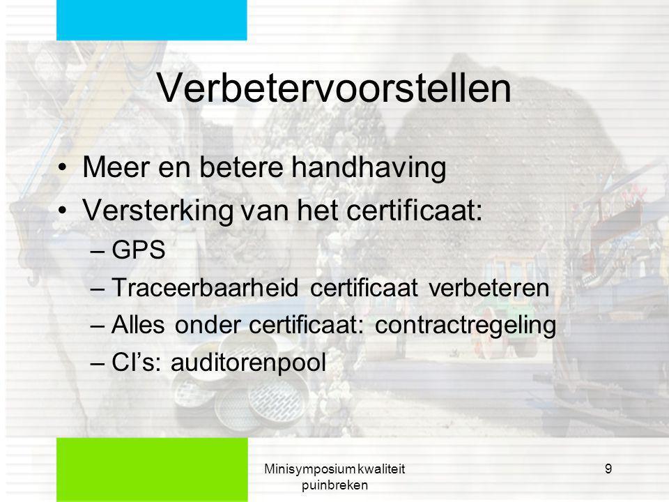 Minisymposium kwaliteit puinbreken 10 GPS •Verbeterde onverwachte controle: •Door CI •Door bevoegd gezag •Ondersteuning van toezicht door CI's en overheid •Locatie en aan/uit