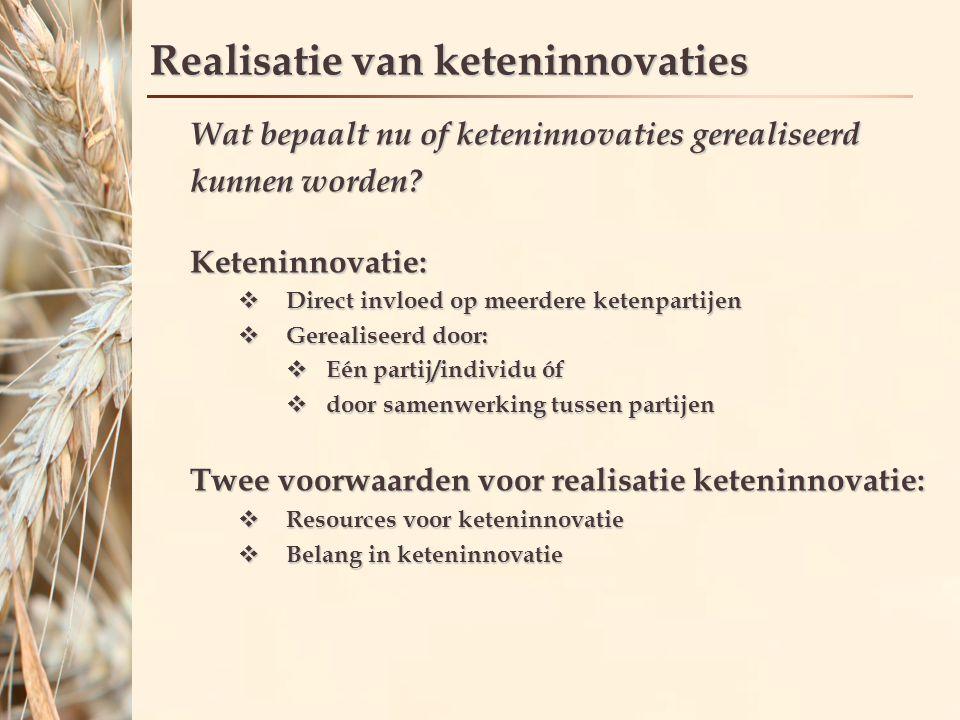 Realisatie van keteninnovaties Wat bepaalt nu of keteninnovaties gerealiseerd kunnen worden.