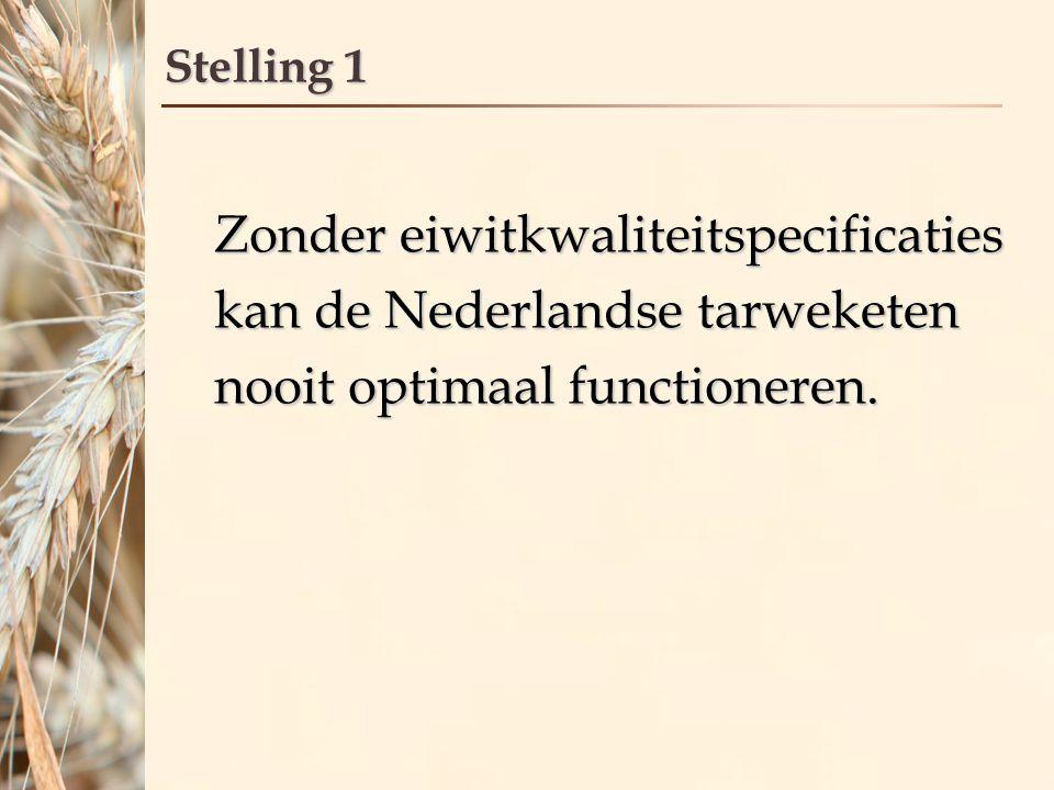 Stelling 1 Zonder eiwitkwaliteitspecificaties kan de Nederlandse tarweketen nooit optimaal functioneren.
