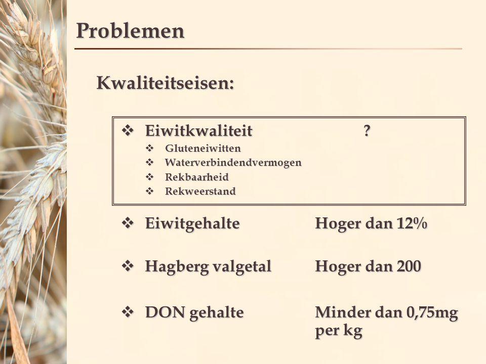 Problemen Tarwetelers: Moeilijk om hoge eiwitkwaliteit te behalen  Weten niet hoe te sturen op eiwitkwaliteit  Geen voldoende uitbetaling op eiwitkwaliteit  Weer in de oogstperiode geeft problemen Collecteurs: Moeilijk om grote partijen tarwe met hoge eiwitkwaliteit af te zetten  Tarwetelers moeite behalen hoge eiwitkwaliteit  Tarwe kan niet worden gemeten en gescheiden op basis van eiwitkwaliteit  Geen voldoende uitbetaling op eiwitkwaliteit