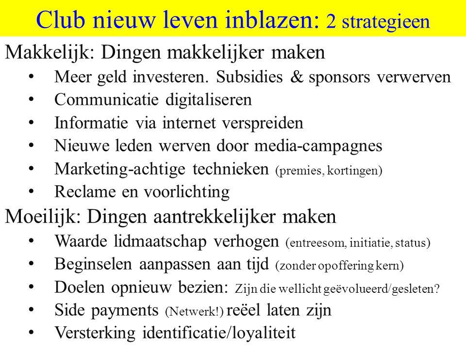 ©vandeSandeinlezingen,2011 Club nieuw leven inblazen: 2 strategieen Makkelijk: Dingen makkelijker maken • Meer geld investeren. Subsidies & sponsors v