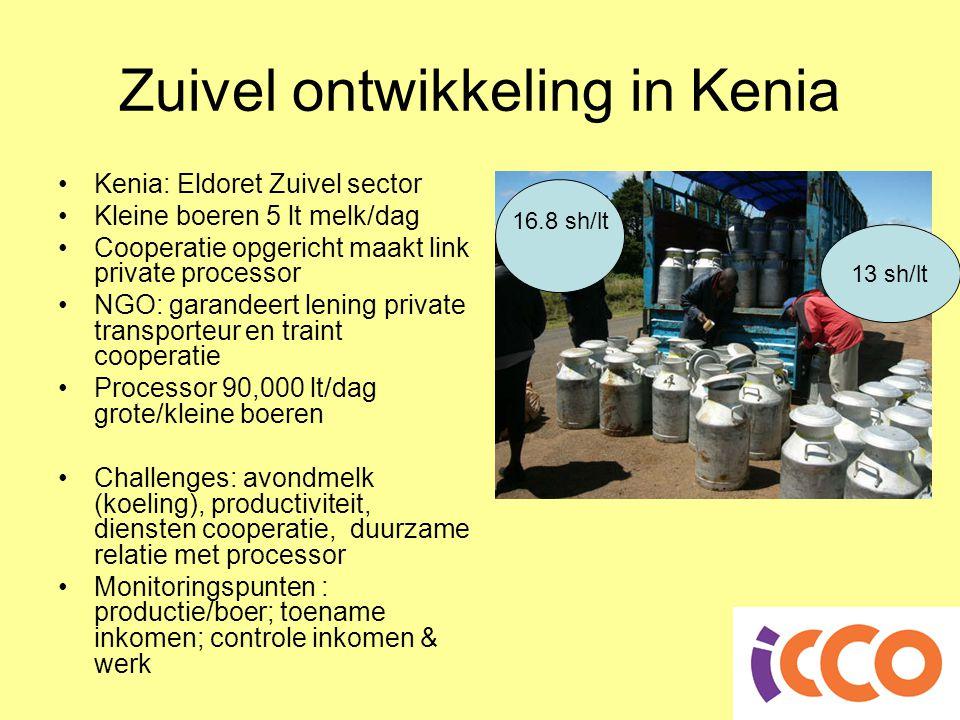 Zuivel ontwikkeling in Kenia •Kenia: Eldoret Zuivel sector •Kleine boeren 5 lt melk/dag •Cooperatie opgericht maakt link private processor •NGO: garandeert lening private transporteur en traint cooperatie •Processor 90,000 lt/dag grote/kleine boeren •Challenges: avondmelk (koeling), productiviteit, diensten cooperatie, duurzame relatie met processor •Monitoringspunten : productie/boer; toename inkomen; controle inkomen & werk 16.8 sh/lt 13 sh/lt