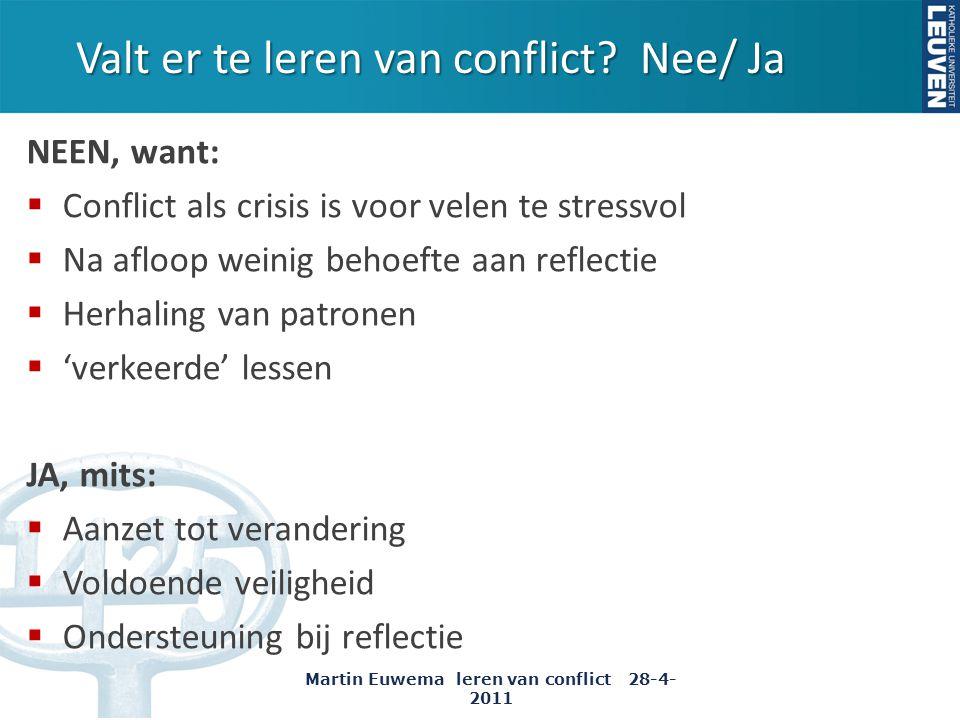 Valt er te leren van conflict? Nee/ Ja NEEN, want:  Conflict als crisis is voor velen te stressvol  Na afloop weinig behoefte aan reflectie  Herhal