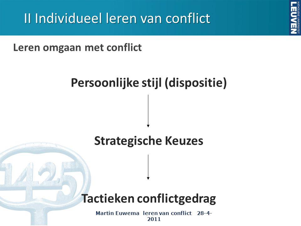 Leren omgaan met conflict Persoonlijke stijl (dispositie) Strategische Keuzes Tactieken conflictgedrag II Individueel leren van conflict Martin Euwema