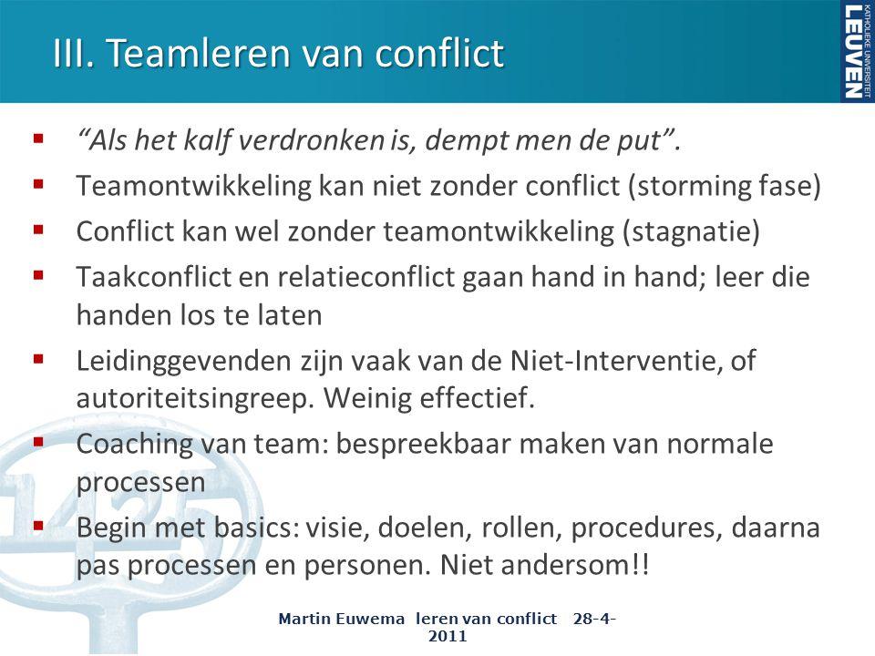 """III. Teamleren van conflict  """"Als het kalf verdronken is, dempt men de put"""".  Teamontwikkeling kan niet zonder conflict (storming fase)  Conflict k"""