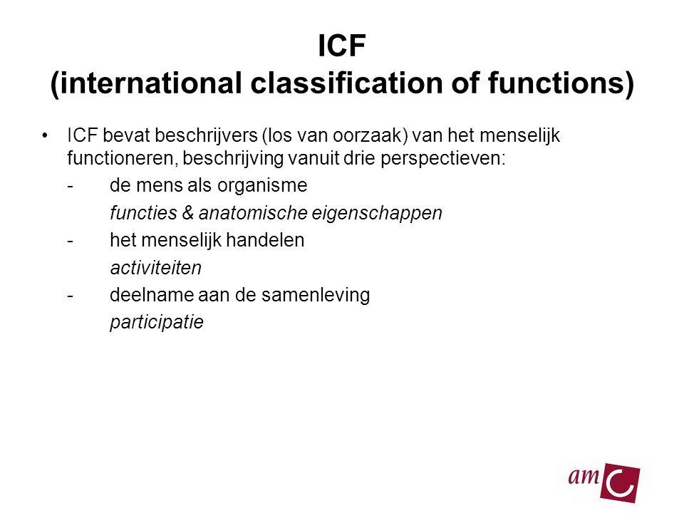 ICF (international classification of functions) •ICF bevat beschrijvers (los van oorzaak) van het menselijk functioneren, beschrijving vanuit drie perspectieven: -de mens als organisme functies & anatomische eigenschappen -het menselijk handelen activiteiten -deelname aan de samenleving participatie