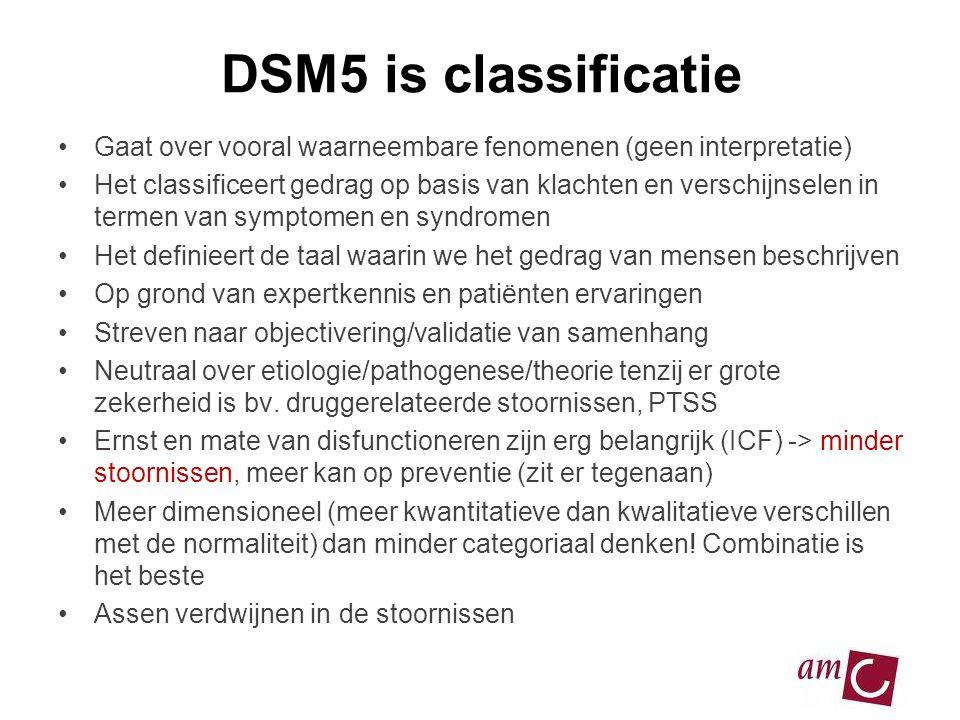 DSM5 is classificatie •Gaat over vooral waarneembare fenomenen (geen interpretatie) •Het classificeert gedrag op basis van klachten en verschijnselen