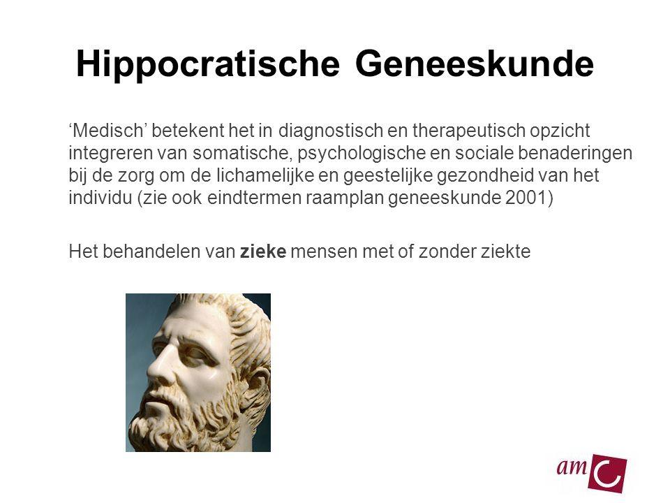 Hippocratische Geneeskunde 'Medisch' betekent het in diagnostisch en therapeutisch opzicht integreren van somatische, psychologische en sociale benade