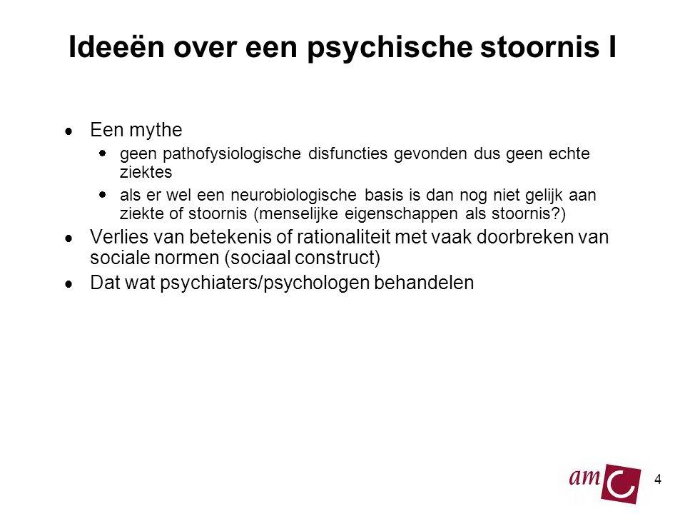4 Ideeën over een psychische stoornis I  Een mythe  geen pathofysiologische disfuncties gevonden dus geen echte ziektes  als er wel een neurobiolog