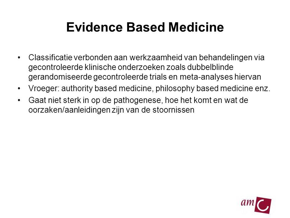 Evidence Based Medicine •Classificatie verbonden aan werkzaamheid van behandelingen via gecontroleerde klinische onderzoeken zoals dubbelblinde gerand