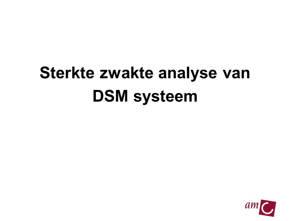 Sterkte zwakte analyse van DSM systeem