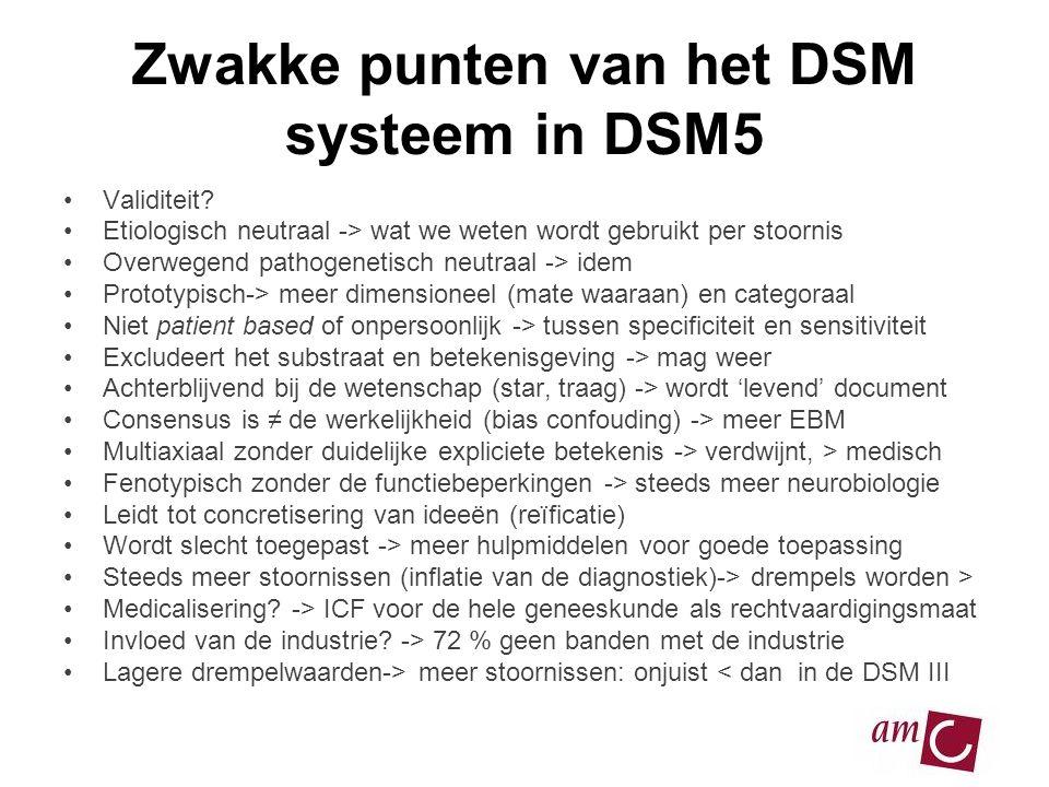 Zwakke punten van het DSM systeem in DSM5 •Validiteit? •Etiologisch neutraal -> wat we weten wordt gebruikt per stoornis •Overwegend pathogenetisch ne