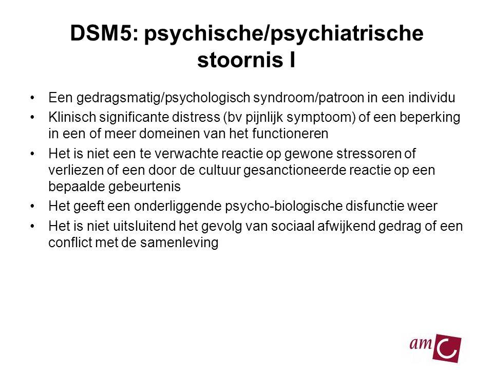 DSM5: psychische/psychiatrische stoornis I •Een gedragsmatig/psychologisch syndroom/patroon in een individu •Klinisch significante distress (bv pijnlijk symptoom) of een beperking in een of meer domeinen van het functioneren •Het is niet een te verwachte reactie op gewone stressoren of verliezen of een door de cultuur gesanctioneerde reactie op een bepaalde gebeurtenis •Het geeft een onderliggende psycho-biologische disfunctie weer •Het is niet uitsluitend het gevolg van sociaal afwijkend gedrag of een conflict met de samenleving