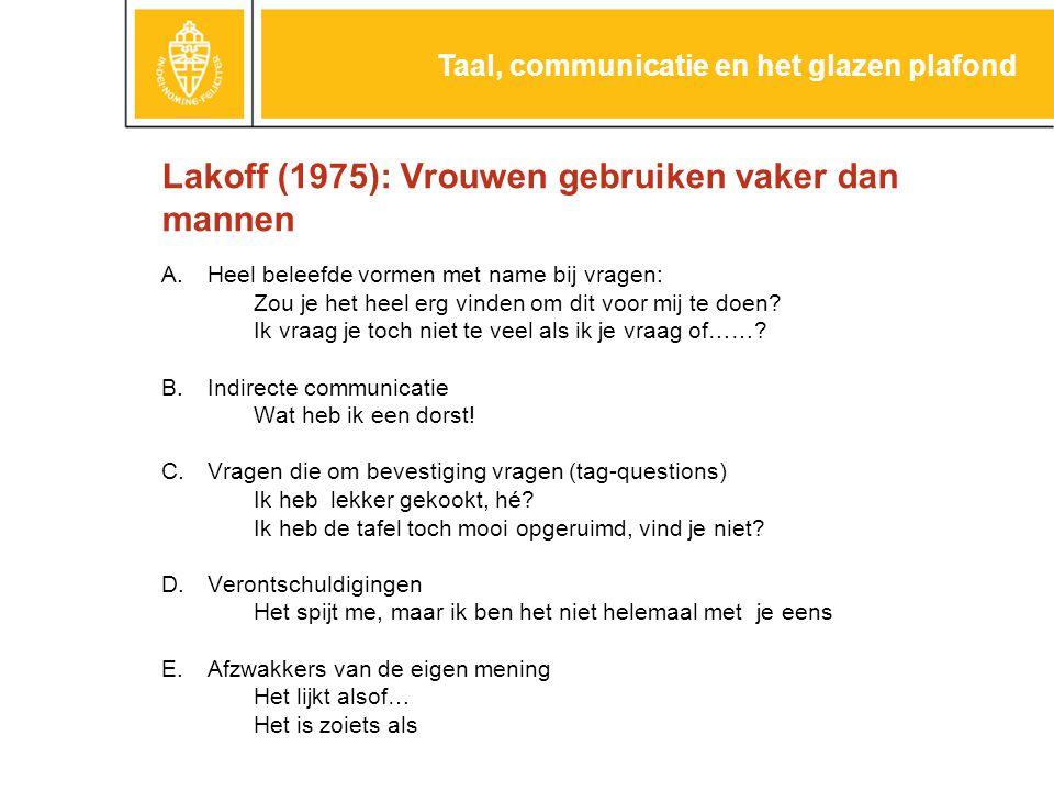 Lakoff (1975): Vrouwen gebruiken vaker dan mannen A.Heel beleefde vormen met name bij vragen: Zou je het heel erg vinden om dit voor mij te doen.