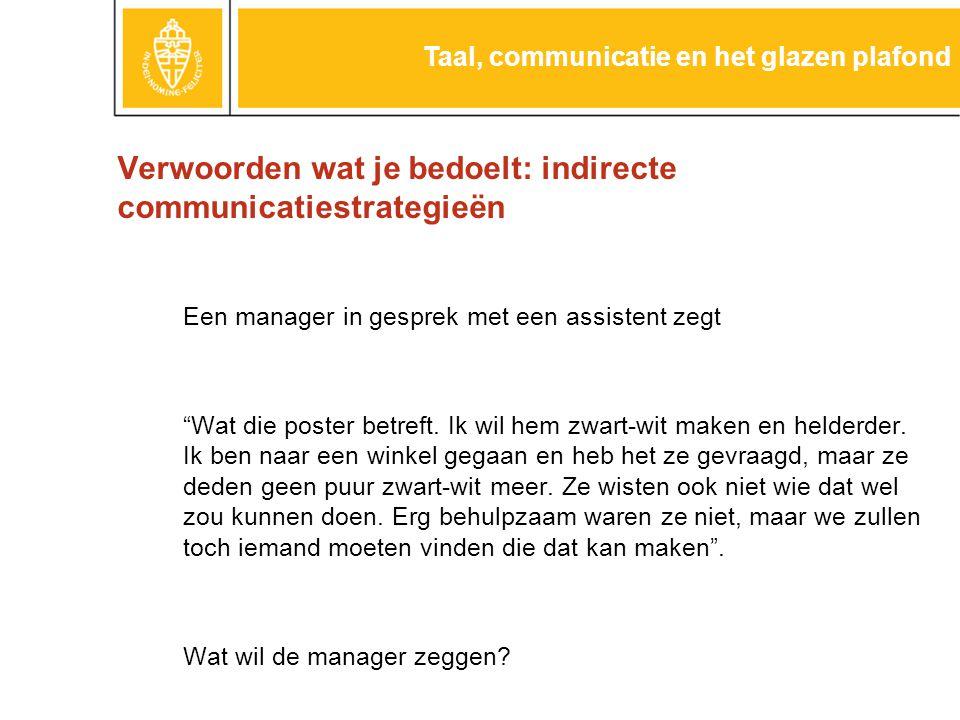 Verwoorden wat je bedoelt: indirecte communicatiestrategieën Een manager in gesprek met een assistent zegt Wat die poster betreft.