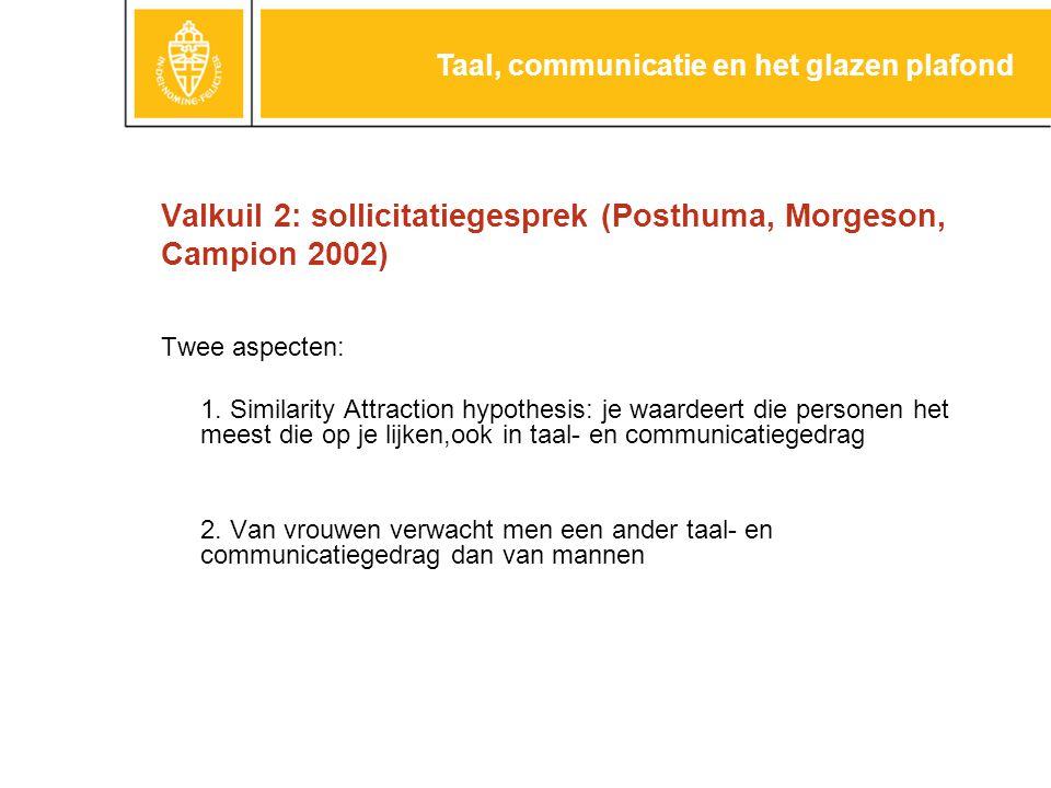 Valkuil 2: sollicitatiegesprek (Posthuma, Morgeson, Campion 2002) Twee aspecten: 1.