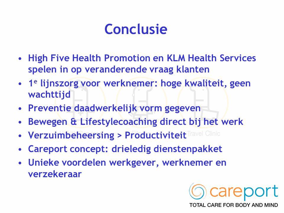 Conclusie •High Five Health Promotion en KLM Health Services spelen in op veranderende vraag klanten •1 e lijnszorg voor werknemer: hoge kwaliteit, ge