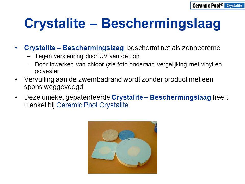 Crystalite – Beschermingslaag •Crystalite – Beschermingslaag beschermt net als zonnecrème –Tegen verkleuring door UV van de zon –Door inwerken van chl