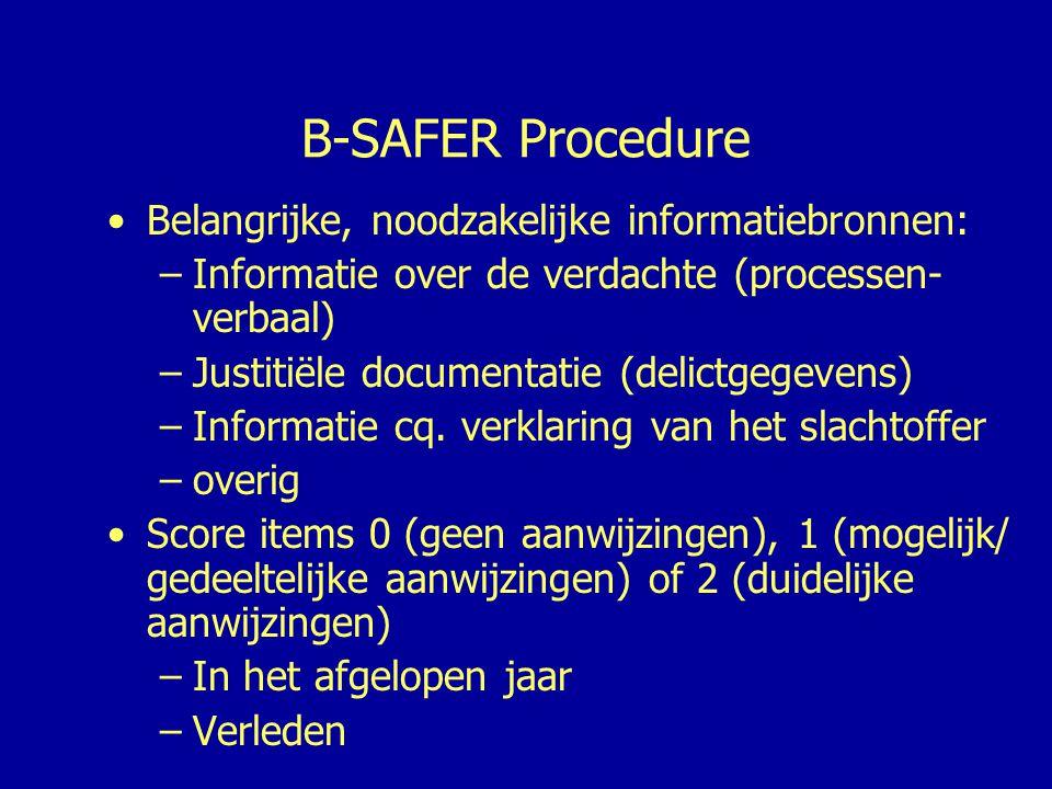 B-SAFER Procedure (vervolg) •Totaalscore van 0 tot 20 (excl.
