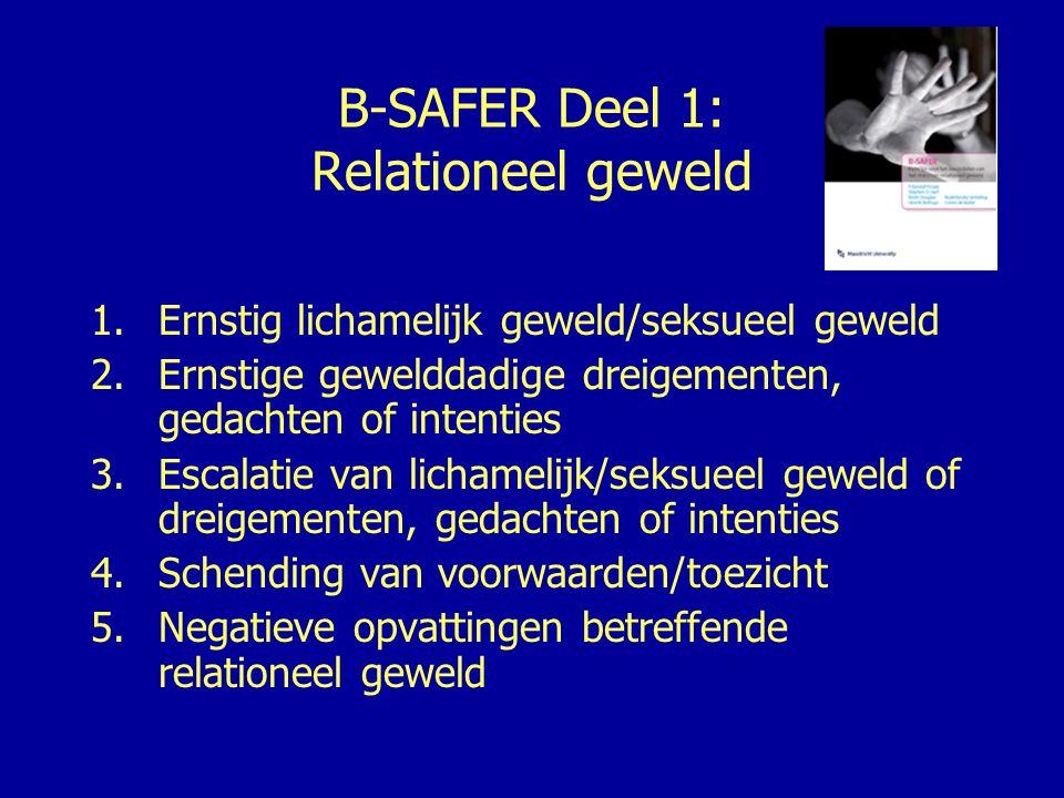 B-SAFER Deel 2: Psychosociale aanpassing 6.Andere ernstige delicten 7.Relatieproblemen 8.Problemen met betrekking tot werk en/of financi ë n 9.Middelenmisbruik 10.Psychische stoornis