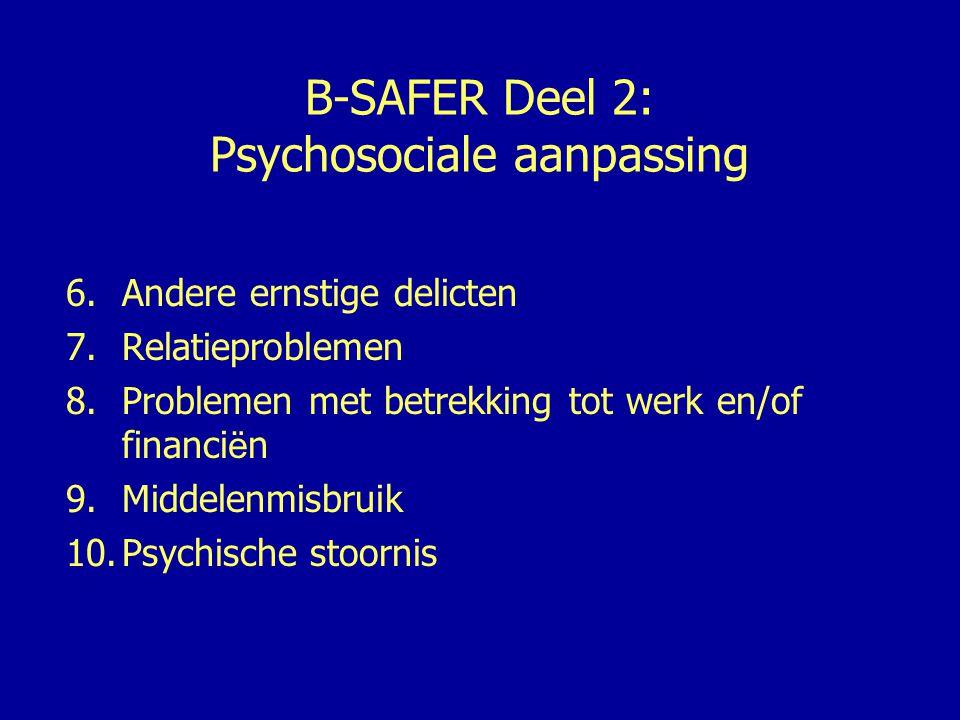 B-SAFER Deel 3: Kwetsbaarheid- kenmerken slachtoffer 11.Extreme angst voor de dader 12.Onvoldoende toegang tot hulpbronnen 13.Onveilige leefsituatie 14.Persoonlijke problemen 15.Inconsistent gedrag en/of houding ten opzichte van de dader