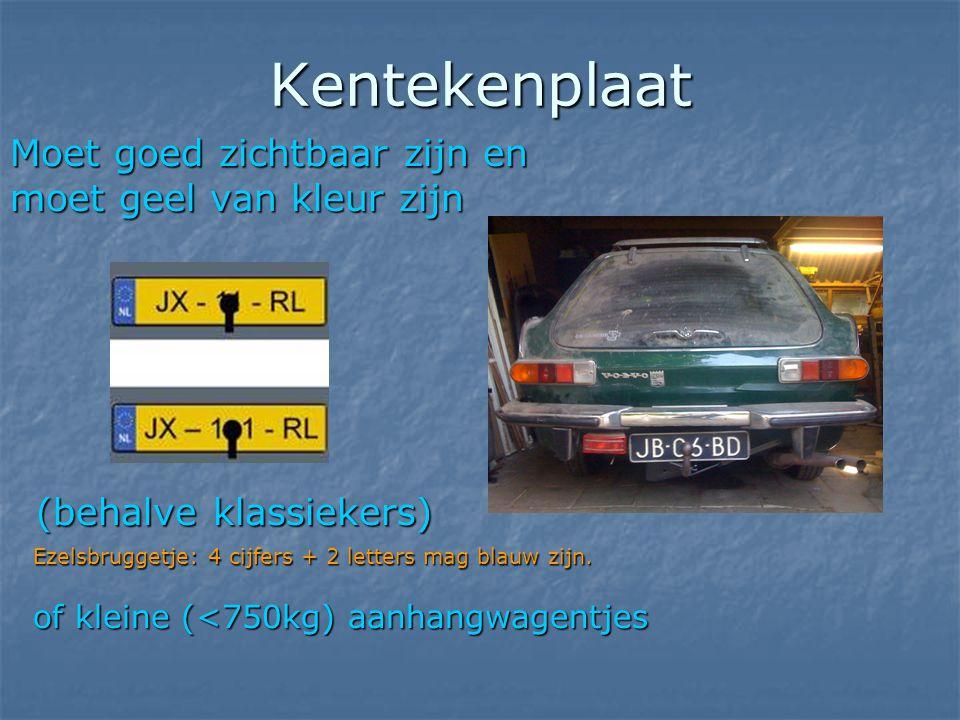 Kentekenplaat Moet goed zichtbaar zijn en moet geel van kleur zijn (behalve klassiekers) (behalve klassiekers) Ezelsbruggetje: 4 cijfers + 2 letters m