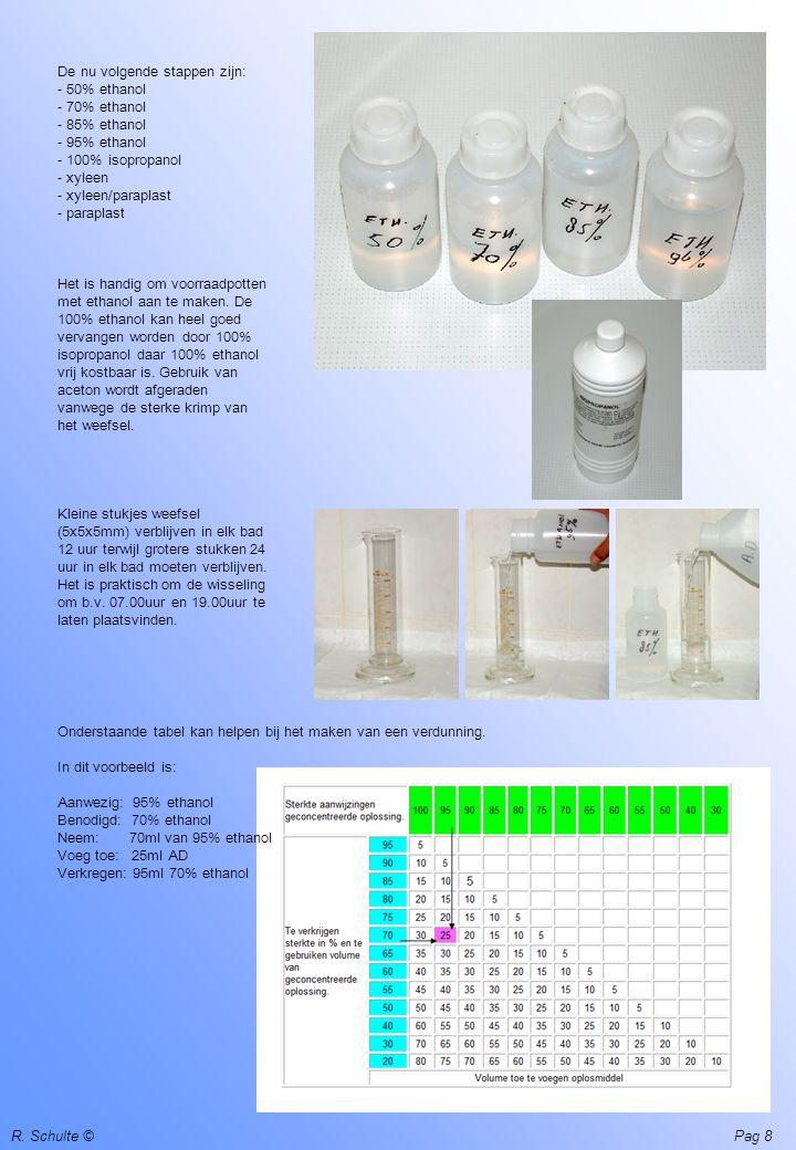 R. Schulte ©Pag 8 De nu volgende stappen zijn: - 50% ethanol - 70% ethanol - 85% ethanol - 95% ethanol - 100% isopropanol - xyleen - xyleen/paraplast