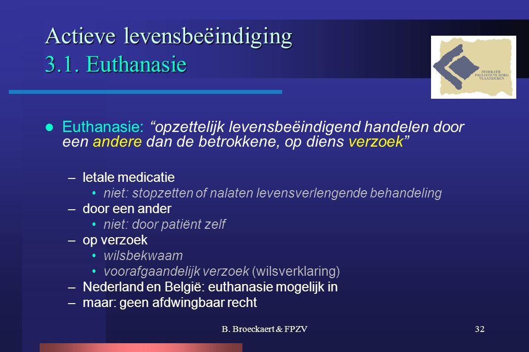 """B. Broeckaert & FPZV32 Actieve levensbeëindiging 3.1. Euthanasie  Euthanasie: """"opzettelijk levensbeëindigend handelen door een andere dan de betrokke"""