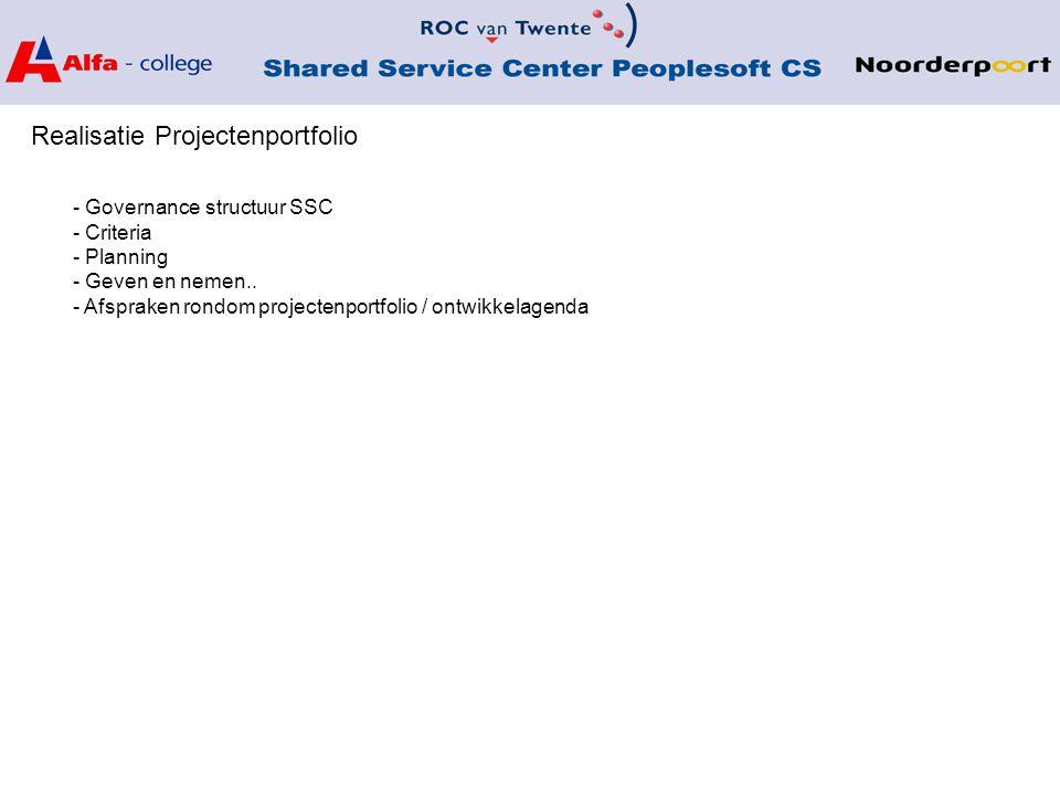 Realisatie Projectenportfolio - Governance structuur SSC - Criteria - Planning - Geven en nemen..