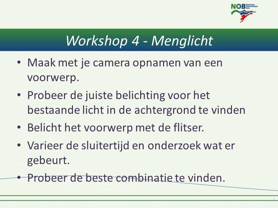Workshop 4 - Menglicht • Maak met je camera opnamen van een voorwerp. • Probeer de juiste belichting voor het bestaande licht in de achtergrond te vin
