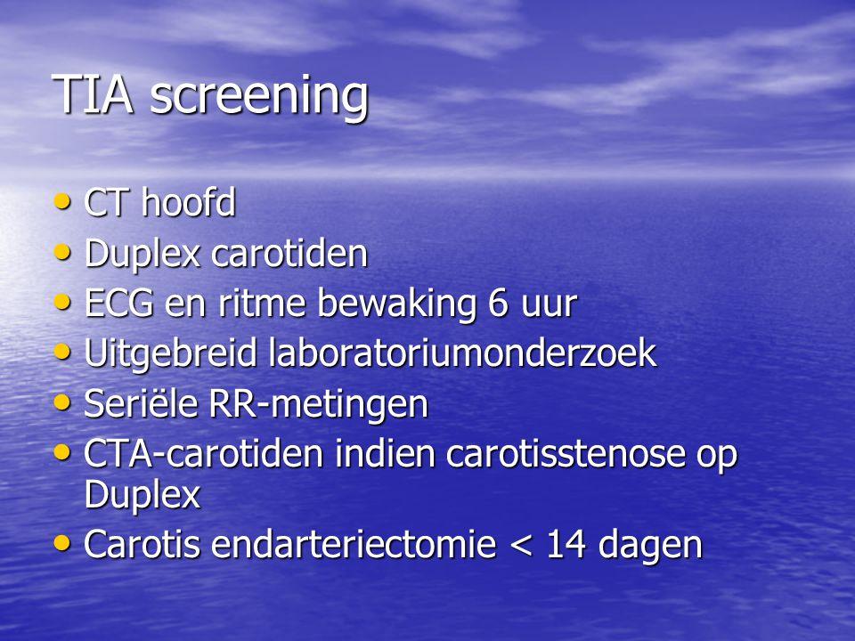 TIA screening • CT hoofd • Duplex carotiden • ECG en ritme bewaking 6 uur • Uitgebreid laboratoriumonderzoek • Seriële RR-metingen • CTA-carotiden ind