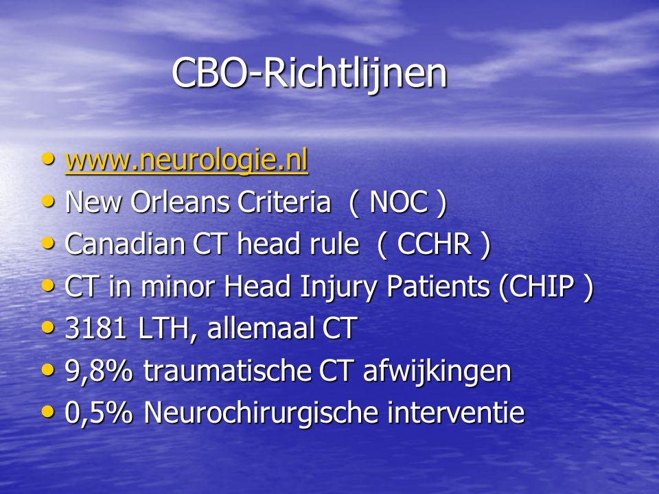 CBO-Richtlijnen • www.neurologie.nl www.neurologie.nl • New Orleans Criteria ( NOC ) • Canadian CT head rule ( CCHR ) • CT in minor Head Injury Patien
