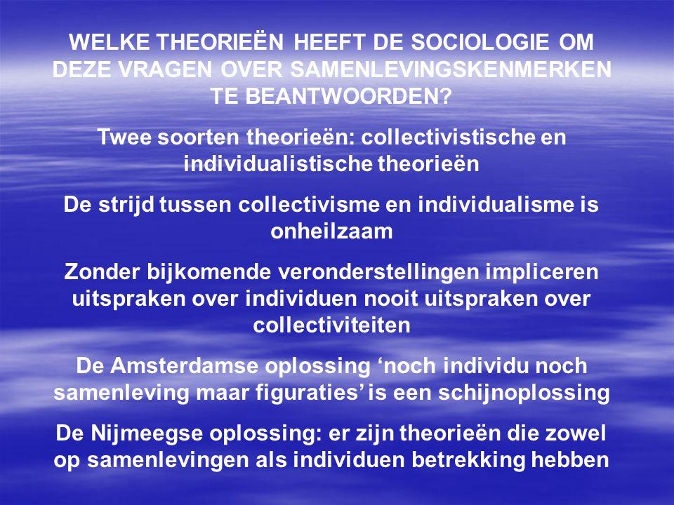 WELKE THEORIEËN HEEFT DE SOCIOLOGIE OM DEZE VRAGEN OVER SAMENLEVINGSKENMERKEN TE BEANTWOORDEN? Twee soorten theorieën: collectivistische en individual