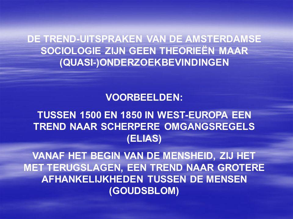 DE TREND-UITSPRAKEN VAN DE AMSTERDAMSE SOCIOLOGIE ZIJN GEEN THEORIEËN MAAR (QUASI-)ONDERZOEKBEVINDINGEN VOORBEELDEN: TUSSEN 1500 EN 1850 IN WEST-EUROP