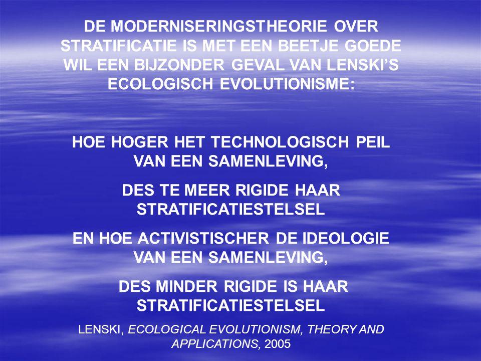 DE MODERNISERINGSTHEORIE OVER STRATIFICATIE IS MET EEN BEETJE GOEDE WIL EEN BIJZONDER GEVAL VAN LENSKI'S ECOLOGISCH EVOLUTIONISME: HOE HOGER HET TECHN