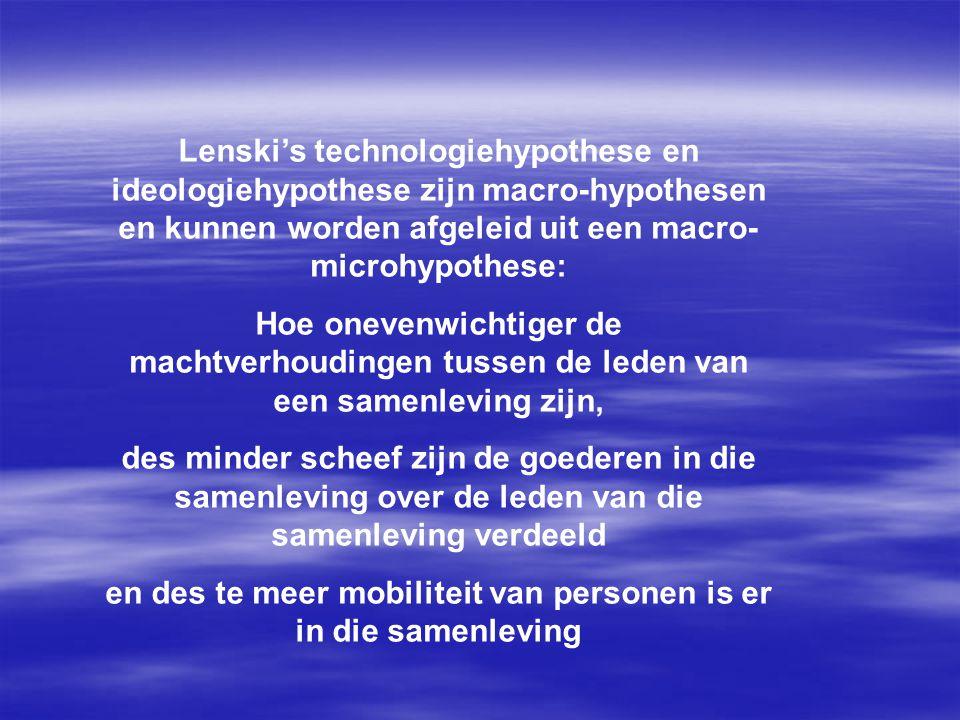 Lenski's technologiehypothese en ideologiehypothese zijn macro-hypothesen en kunnen worden afgeleid uit een macro- microhypothese: Hoe onevenwichtiger