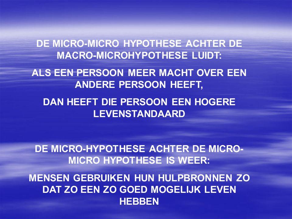 DE MICRO-MICRO HYPOTHESE ACHTER DE MACRO-MICROHYPOTHESE LUIDT: ALS EEN PERSOON MEER MACHT OVER EEN ANDERE PERSOON HEEFT, DAN HEEFT DIE PERSOON EEN HOG