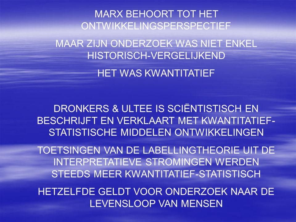 MARX BEHOORT TOT HET ONTWIKKELINGSPERSPECTIEF MAAR ZIJN ONDERZOEK WAS NIET ENKEL HISTORISCH-VERGELIJKEND HET WAS KWANTITATIEF DRONKERS & ULTEE IS SCIË