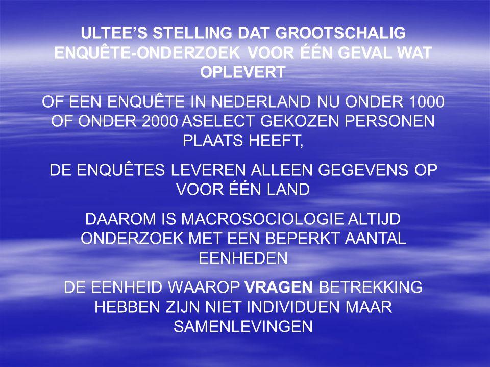 ULTEE'S STELLING DAT GROOTSCHALIG ENQUÊTE-ONDERZOEK VOOR ÉÉN GEVAL WAT OPLEVERT OF EEN ENQUÊTE IN NEDERLAND NU ONDER 1000 OF ONDER 2000 ASELECT GEKOZE