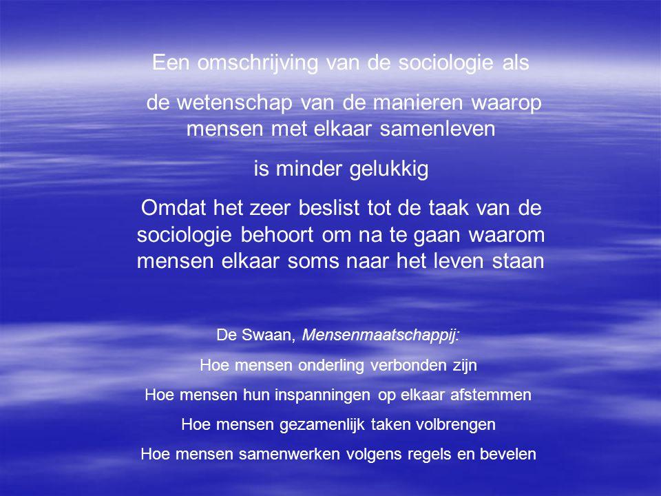 Een omschrijving van de sociologie als de wetenschap van de manieren waarop mensen met elkaar samenleven is minder gelukkig Omdat het zeer beslist tot