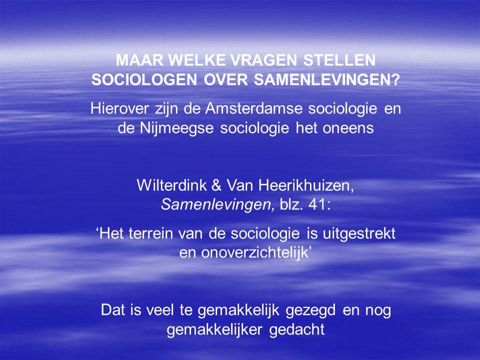 MAAR WELKE VRAGEN STELLEN SOCIOLOGEN OVER SAMENLEVINGEN? Hierover zijn de Amsterdamse sociologie en de Nijmeegse sociologie het oneens Wilterdink & Va