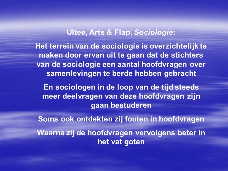 Ultee, Arts & Flap, Sociologie: Het terrein van de sociologie is overzichtelijk te maken door ervan uit te gaan dat de stichters van de sociologie een