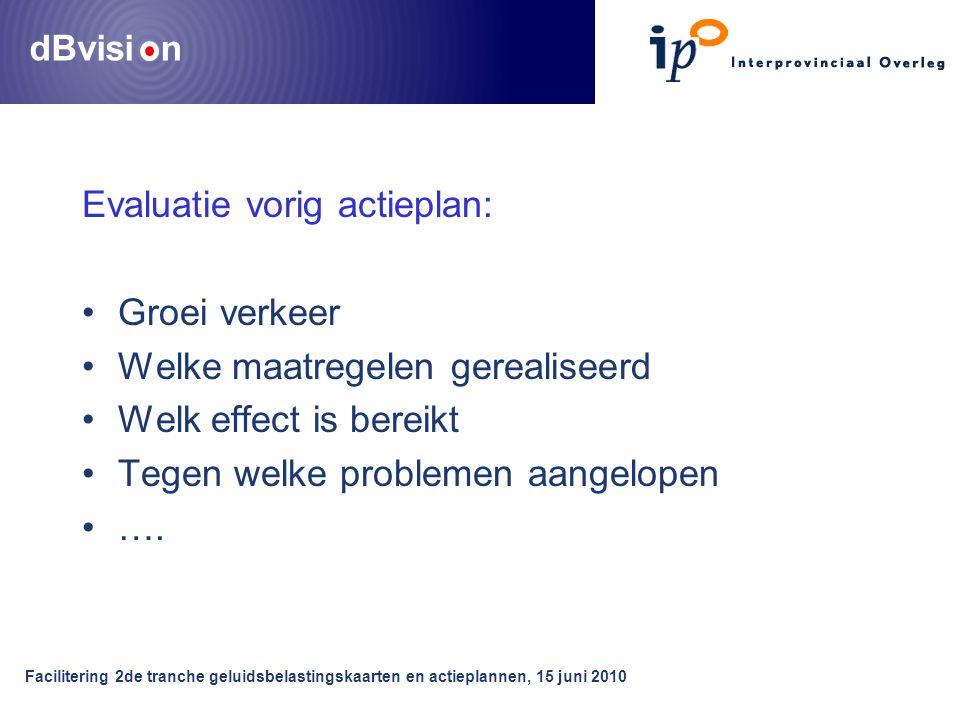dBvisi n Facilitering 2de tranche geluidsbelastingskaarten en actieplannen, 15 juni 2010 Evaluatie vorig actieplan: •Groei verkeer •Welke maatregelen gerealiseerd •Welk effect is bereikt •Tegen welke problemen aangelopen •….
