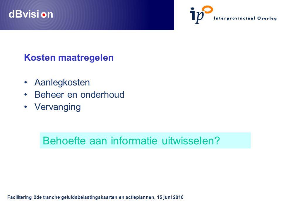 dBvisi n Facilitering 2de tranche geluidsbelastingskaarten en actieplannen, 15 juni 2010 Kosten maatregelen •Aanlegkosten •Beheer en onderhoud •Vervanging Behoefte aan informatie uitwisselen
